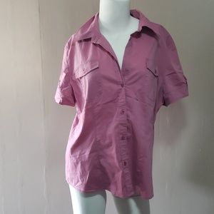 Ny& Co Pink Button Down Top XL Ladies